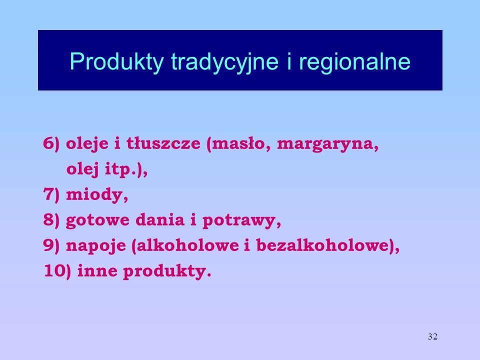 32 Produkty tradycyjne i regionalne 6) oleje i tłuszcze (masło, margaryna, olej itp.), 7) miody, 8) gotowe dania i potrawy, 9) napoje (alkoholowe i be