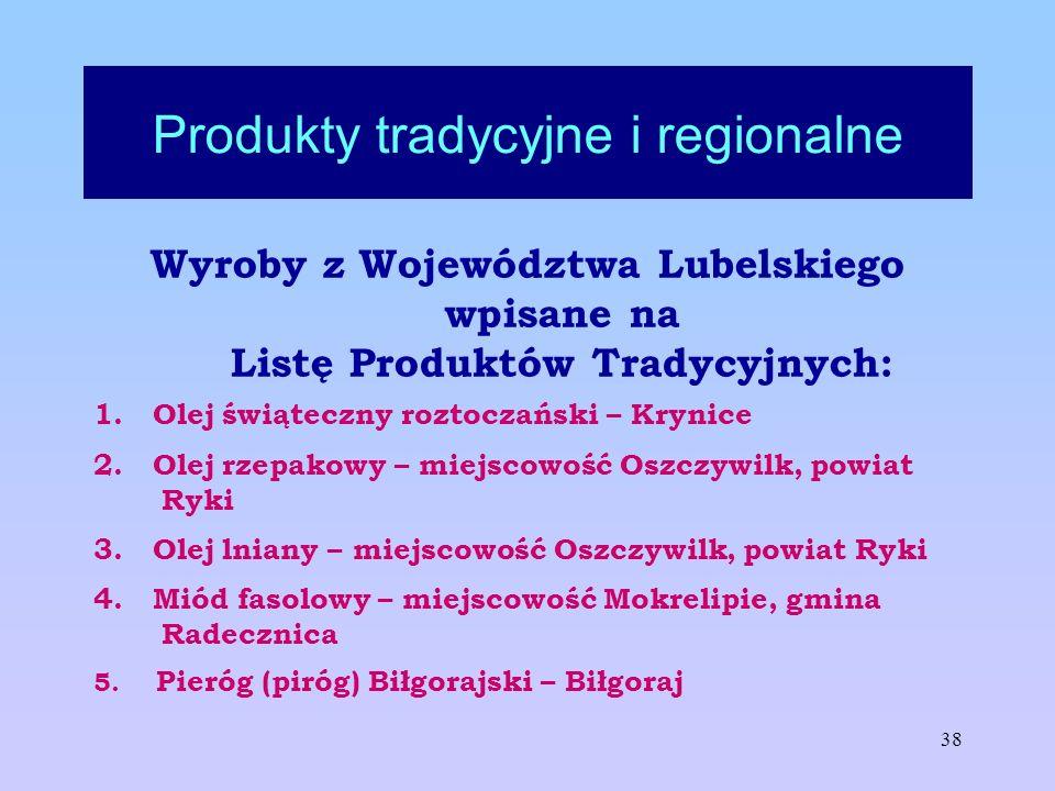 38 Produkty tradycyjne i regionalne Wyroby z Województwa Lubelskiego wpisane na Listę Produktów Tradycyjnych: 1. Olej świąteczny roztoczański – Krynic