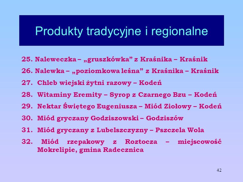 42 Produkty tradycyjne i regionalne 25. Naleweczka – gruszkówka z Kraśnika – Kraśnik 26. Nalewka – poziomkowa leśna z Kraśnika – Kraśnik 27. Chleb wie