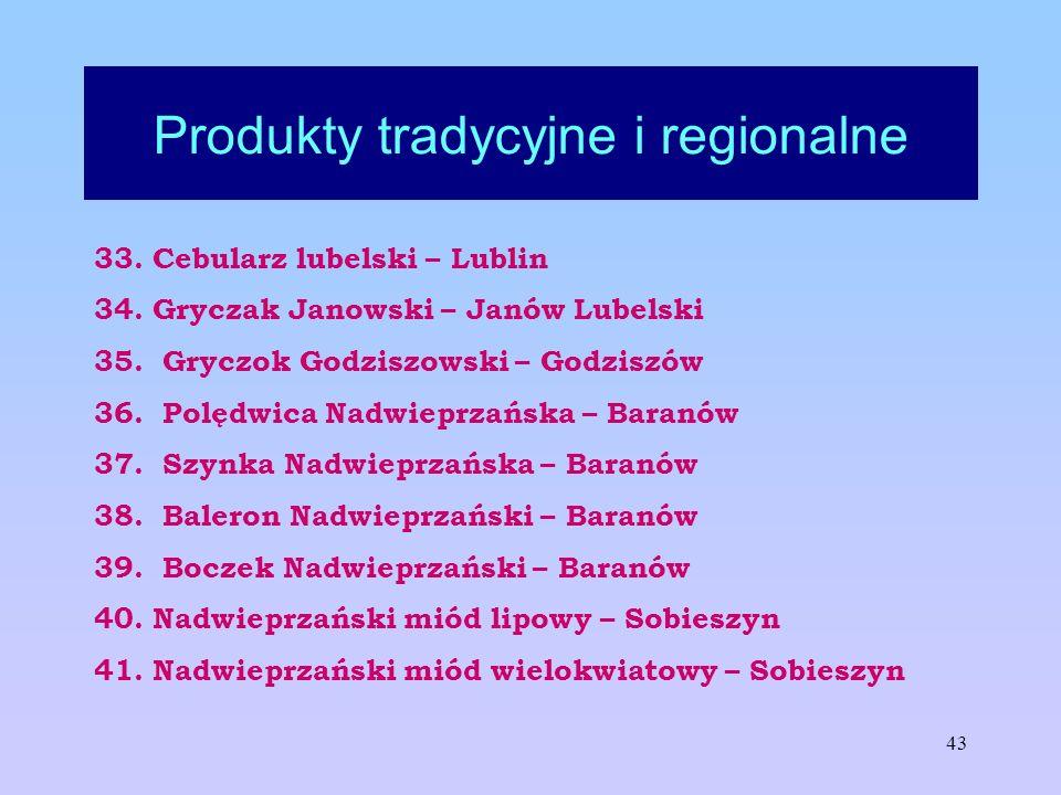 43 Produkty tradycyjne i regionalne 33. Cebularz lubelski – Lublin 34. Gryczak Janowski – Janów Lubelski 35. Gryczok Godziszowski – Godziszów 36. Polę