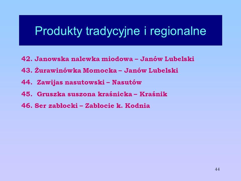 44 Produkty tradycyjne i regionalne 42. Janowska nalewka miodowa – Janów Lubelski 43. Żurawinówka Momocka – Janów Lubelski 44. Zawijas nasutowski – Na