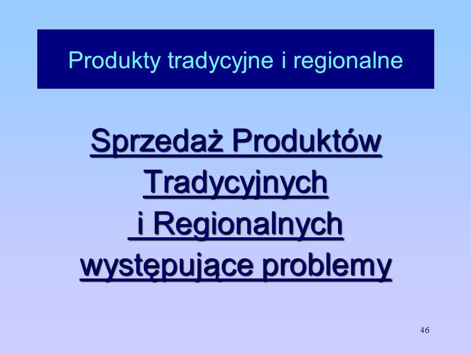 46 Produkty tradycyjne i regionalne Sprzedaż Produktów Tradycyjnych i Regionalnych i Regionalnych występujące problemy