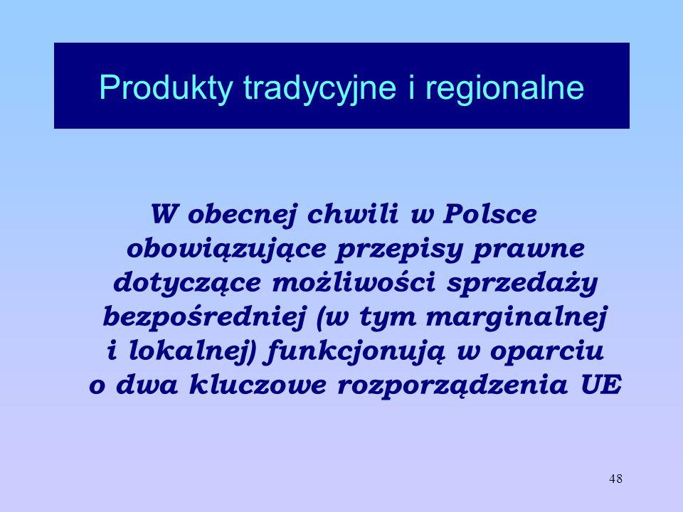 48 Produkty tradycyjne i regionalne W obecnej chwili w Polsce obowiązujące przepisy prawne dotyczące możliwości sprzedaży bezpośredniej (w tym margina