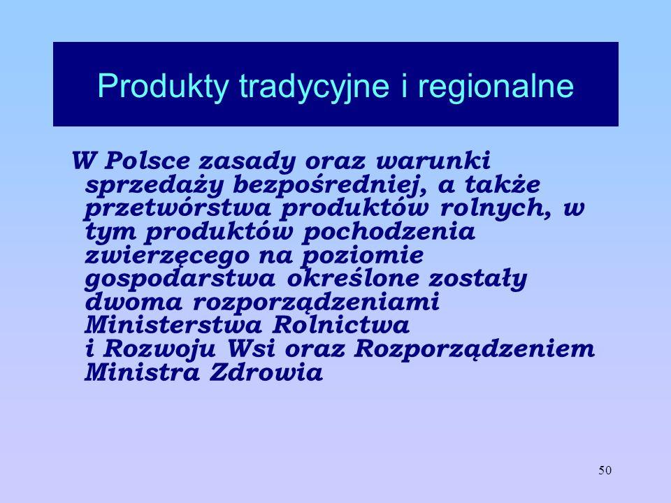 50 Produkty tradycyjne i regionalne W Polsce zasady oraz warunki sprzedaży bezpośredniej, a także przetwórstwa produktów rolnych, w tym produktów poch