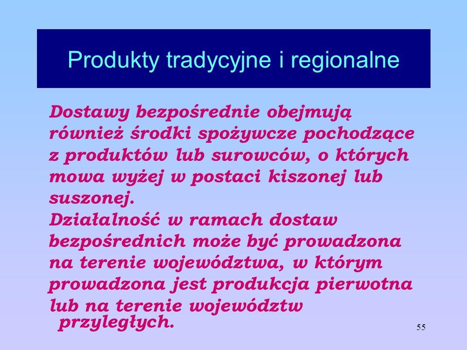 55 Produkty tradycyjne i regionalne Dostawy bezpośrednie obejmują również środki spożywcze pochodzące z produktów lub surowców, o których mowa wyżej w