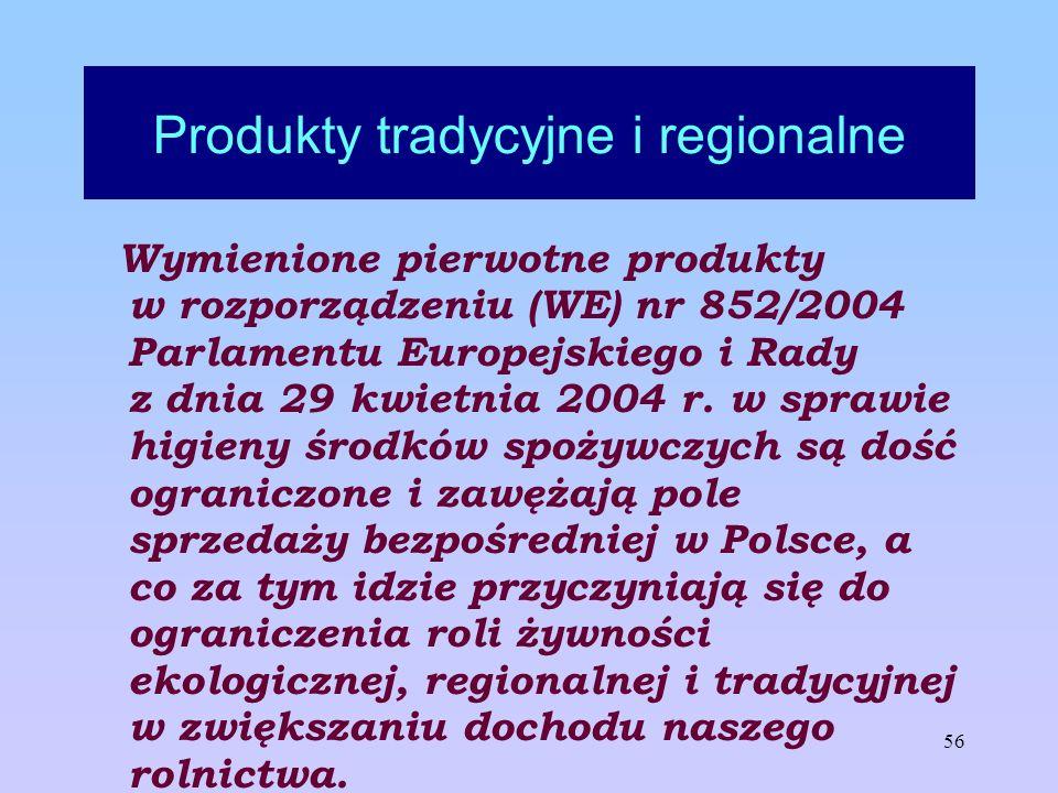 56 Produkty tradycyjne i regionalne Wymienione pierwotne produkty w rozporządzeniu (WE) nr 852/2004 Parlamentu Europejskiego i Rady z dnia 29 kwietnia