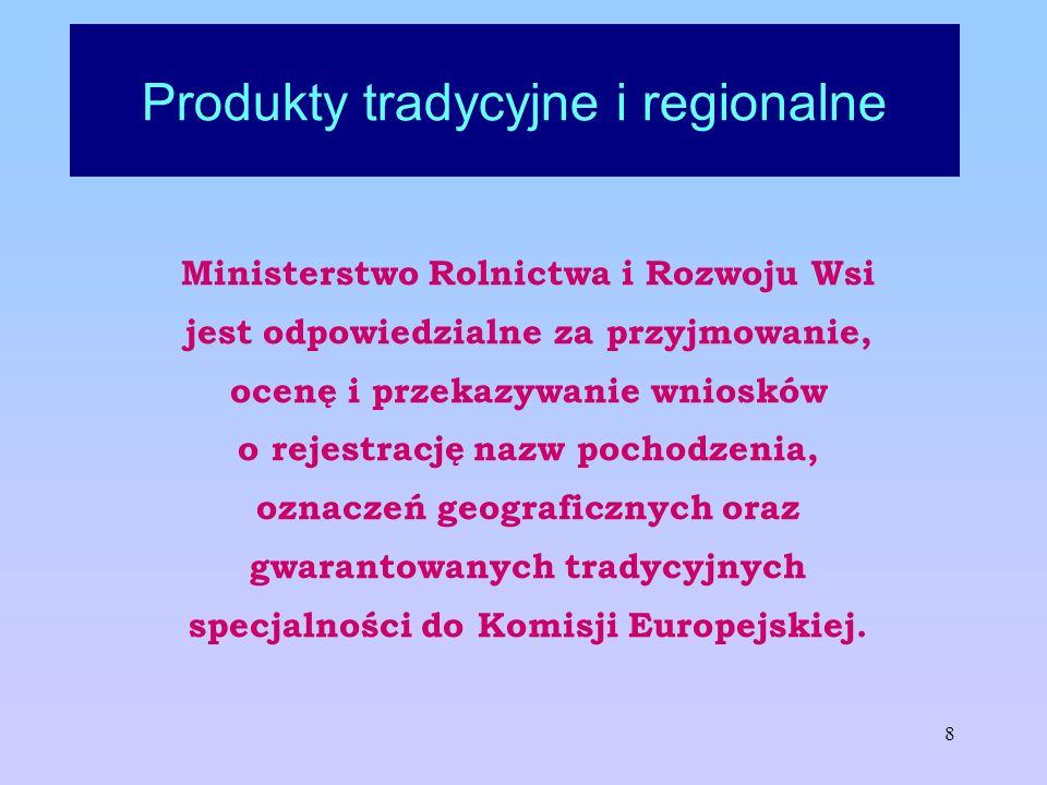 8 Produkty tradycyjne i regionalne Ministerstwo Rolnictwa i Rozwoju Wsi jest odpowiedzialne za przyjmowanie, ocenę i przekazywanie wniosków o rejestra