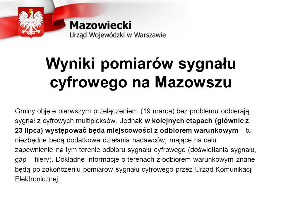 Wyniki pomiarów sygnału cyfrowego na Mazowszu Gminy objęte pierwszym przełączeniem (19 marca) bez problemu odbierają sygnał z cyfrowych multipleksów.