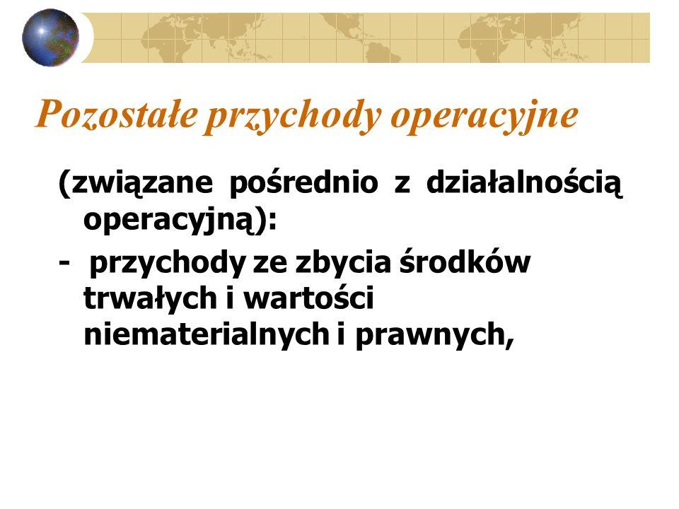 Pozostałe przychody operacyjne (związane pośrednio z działalnością operacyjną): - przychody ze zbycia środków trwałych i wartości niematerialnych i pr