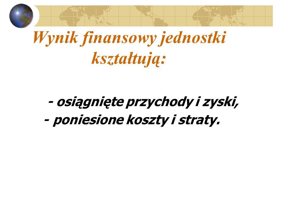 Wynik finansowy jednostki kształtują: - osiągnięte przychody i zyski, -poniesione koszty i straty.