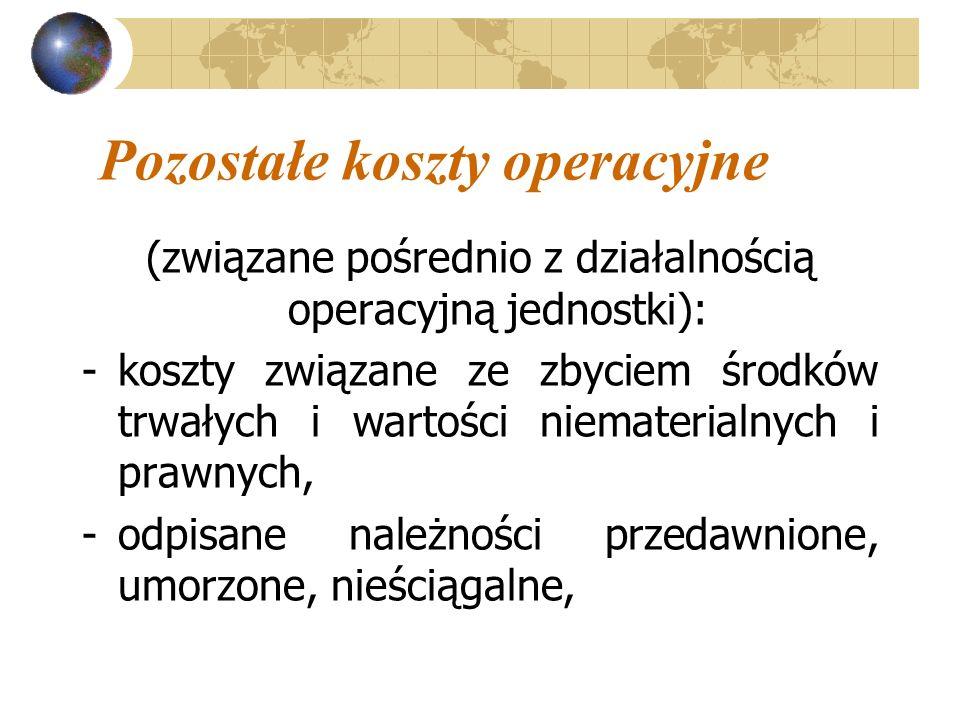 Pozostałe koszty operacyjne (związane pośrednio z działalnością operacyjną jednostki): -koszty związane ze zbyciem środków trwałych i wartości niemate