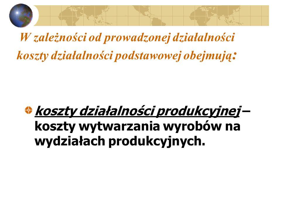 W zależności od prowadzonej działalności koszty działalności podstawowej obejmują : koszty działalności produkcyjnej – koszty wytwarzania wyrobów na w