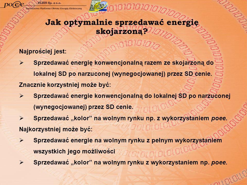 Jak optymalnie sprzedawać energię skojarzoną? ELBIS Sp. z o.o. Najprościej jest: Sprzedawać energię konwencjonalną razem ze skojarzoną do lokalnej SD