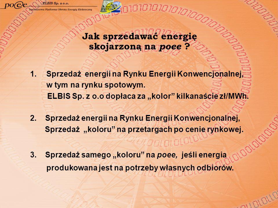 Jak sprzedawać energię skojarzoną na poee ? ELBIS Sp. z o.o. 1.Sprzedaż energii na Rynku Energii Konwencjonalnej, w tym na rynku spotowym. ELBIS Sp. z