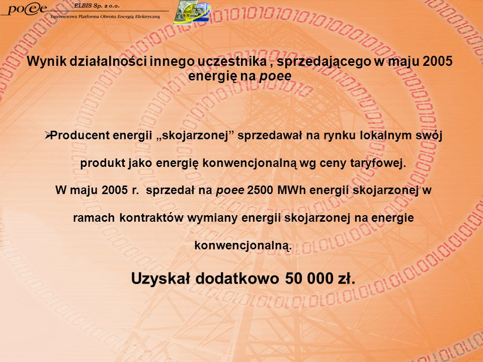 ELBIS Sp. z o.o. Wynik działalności innego uczestnika, sprzedającego w maju 2005 energię na poee Producent energii skojarzonej sprzedawał na rynku lok