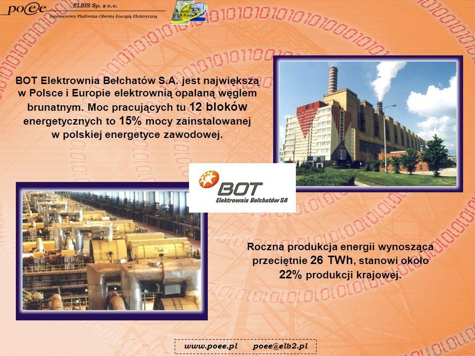 Roczna produkcja energii wynosząca przeciętnie 26 TWh, stanowi około 22% produkcji krajowej. BOT Elektrownia Bełchatów S.A. jest największą w Polsce i