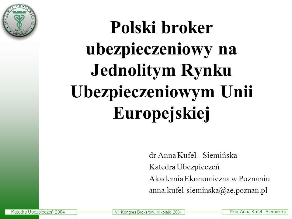 Katedra Ubezpieczeń 2004 © dr Anna Kufel - Siemińska VII Kongres Brokerów, Mikołajki 2004 Plan prezentacji Wprowadzenie Broker jako przedsiębiorca Role brokerów ubezpieczeniowych na polskim i unijnym rynku ubezpieczeń Konsekwencje integracji z Unią Europejską dla polskich brokerów ubezpieczeniowych