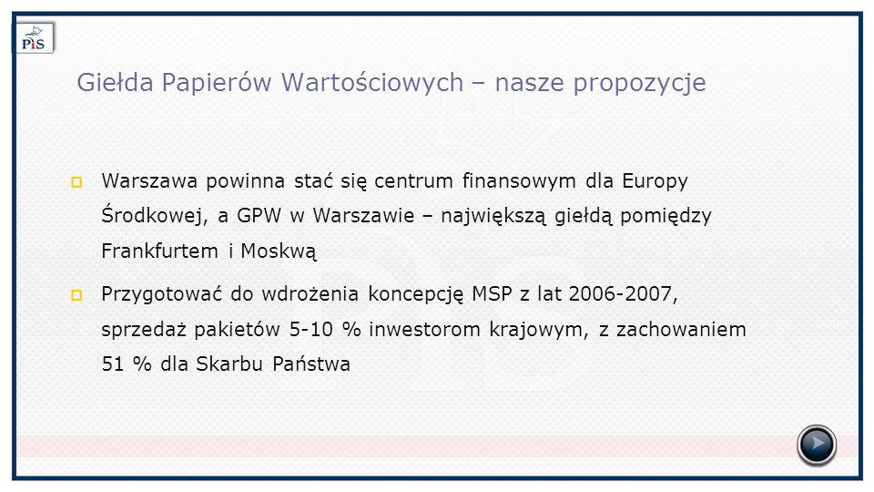 Giełda Papierów Wartościowych – nasze propozycje Warszawa powinna stać się centrum finansowym dla Europy Środkowej, a GPW w Warszawie – największą giełdą pomiędzy Frankfurtem i Moskwą Przygotować do wdrożenia koncepcję MSP z lat 2006-2007, sprzedaż pakietów 5-10 % inwestorom krajowym, z zachowaniem 51 % dla Skarbu Państwa