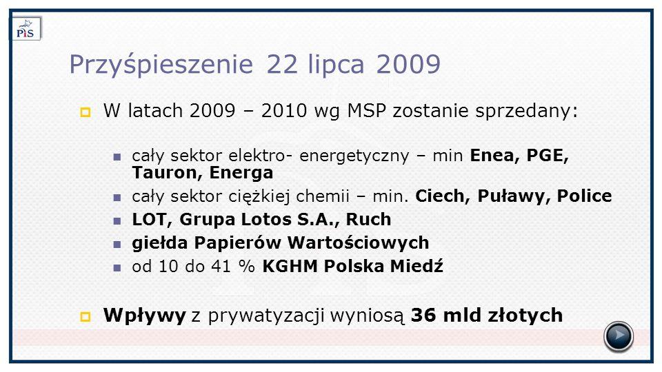Przyśpieszenie 22 lipca 2009 W latach 2009 – 2010 wg MSP zostanie sprzedany: cały sektor elektro- energetyczny – min Enea, PGE, Tauron, Energa cały sektor ciężkiej chemii – min.