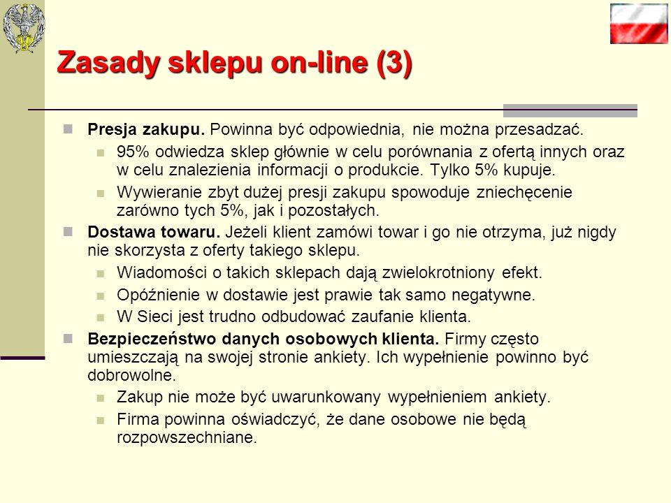 Zasady sklepu on-line (2) Obsługa klienta. Klienci mogą mieć pytania dotyczące towarów, czy procesu zakupu i płatności. Częściowo można te wątpliwości