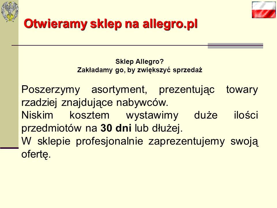 Otwieramy sklep na allegro.pl Proces rejestracji jest stosunkowo prosty a koszta działalności na allegro.pl znacznie się różnią w stosunku do oferty d