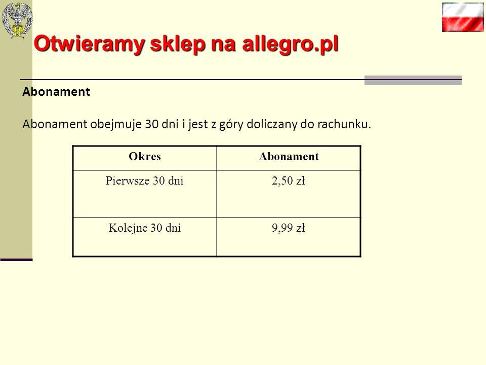 Otwieramy sklep na allegro.pl Kalkulacja kosztowo-przychodowa: Kapitał początkowy (kapitały własne) 20 000 zł Marża na produktach i usługach20 % Zatru
