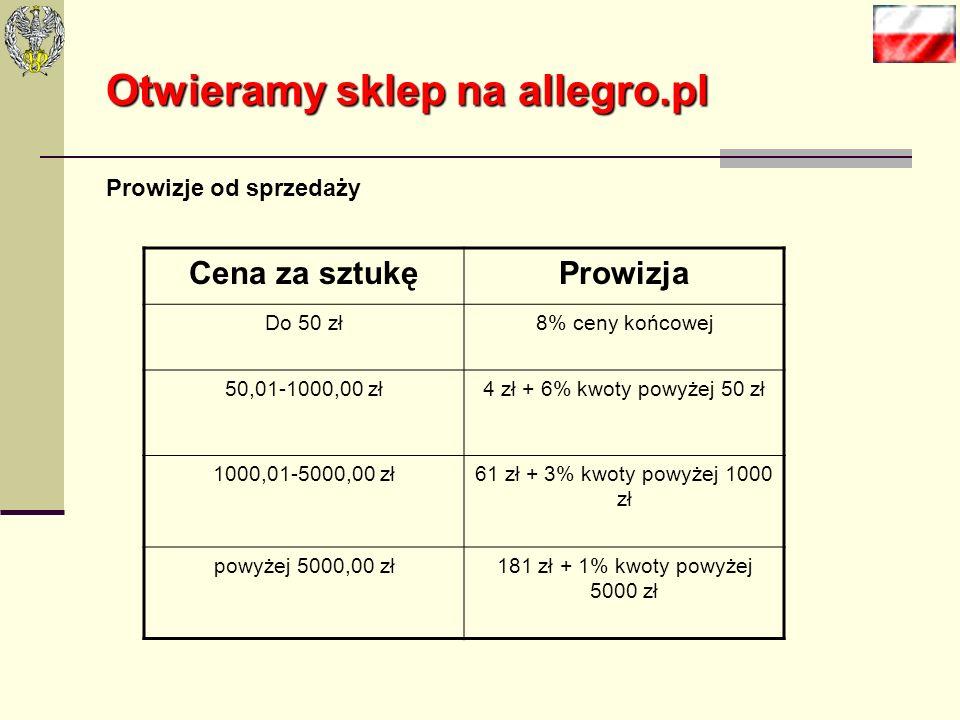 Otwieramy sklep na allegro.pl Na Allegro.pl obowiązują stałe opłaty za wystawienie artykułów. W kategorii Książki i komiksy opłata ta wynosi 0,05 zł.