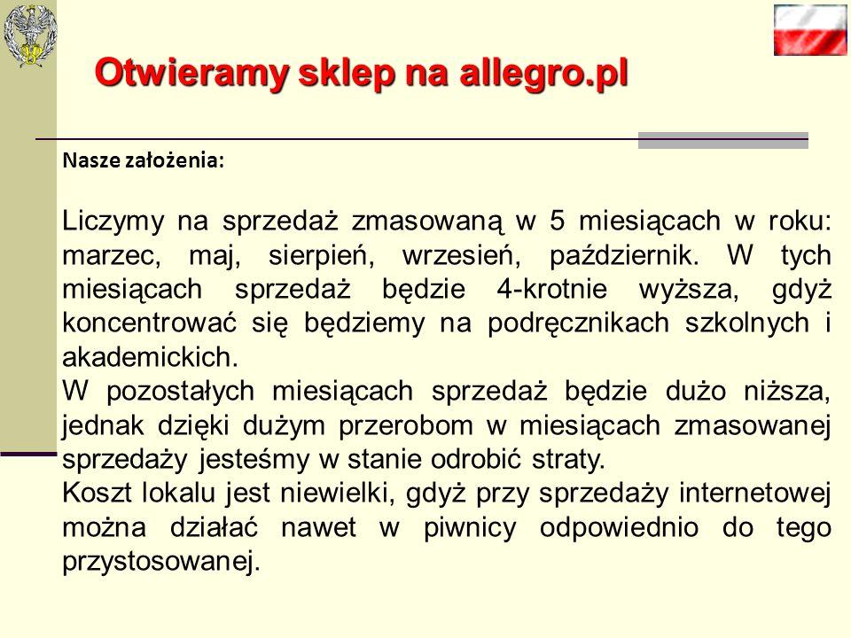 Otwieramy sklep na allegro.pl Prowizje od sprzedaży Cena za sztukęProwizja Do 50 zł8% ceny końcowej 50,01-1000,00 zł4 zł + 6% kwoty powyżej 50 zł 1000