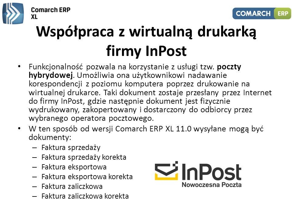 Współpraca z wirtualną drukarką firmy InPost Funkcjonalność pozwala na korzystanie z usługi tzw. poczty hybrydowej. Umożliwia ona użytkownikowi nadawa