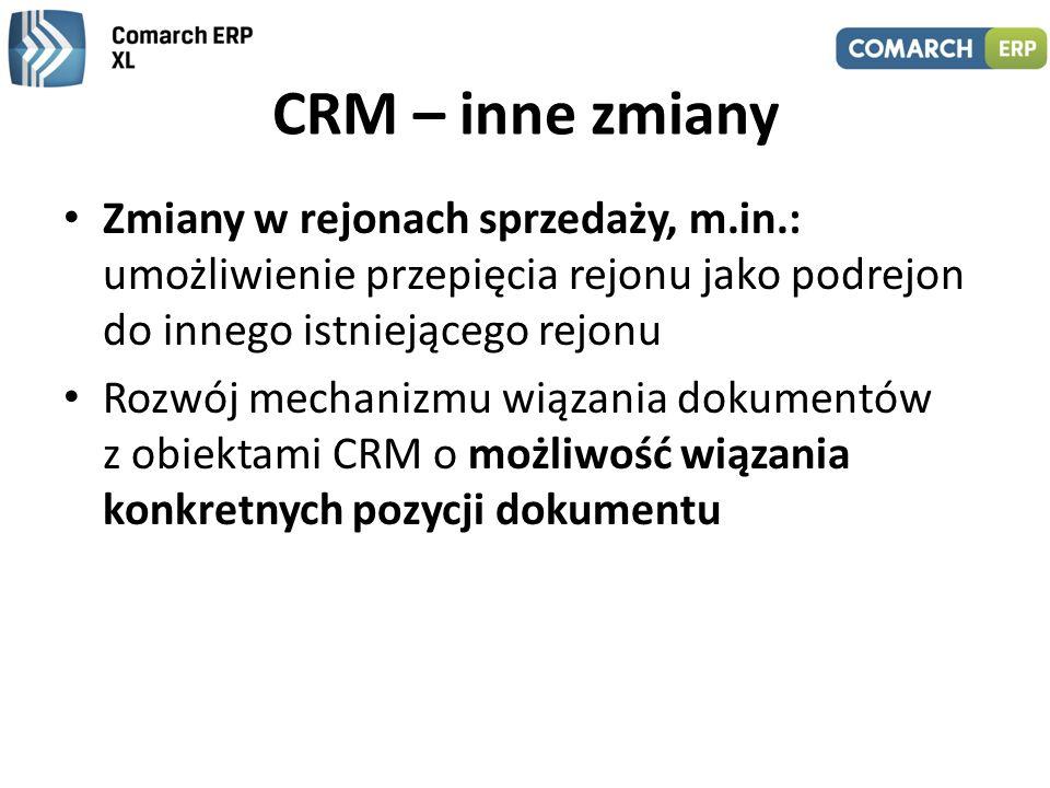 CRM – inne zmiany Zmiany w rejonach sprzedaży, m.in.: umożliwienie przepięcia rejonu jako podrejon do innego istniejącego rejonu Rozwój mechanizmu wią