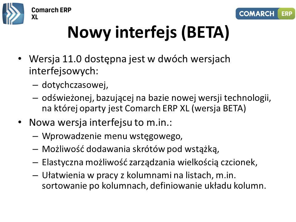 Nowy interfejs (BETA) - przykłady Wygląd modułu: Sprzedaż, w nowym interfejsie ze wstążką (ribbonem) Dodawanie wybranych funkcji do paska skrótów Sortowanie na liście zamówień po kolumnie: Akronim