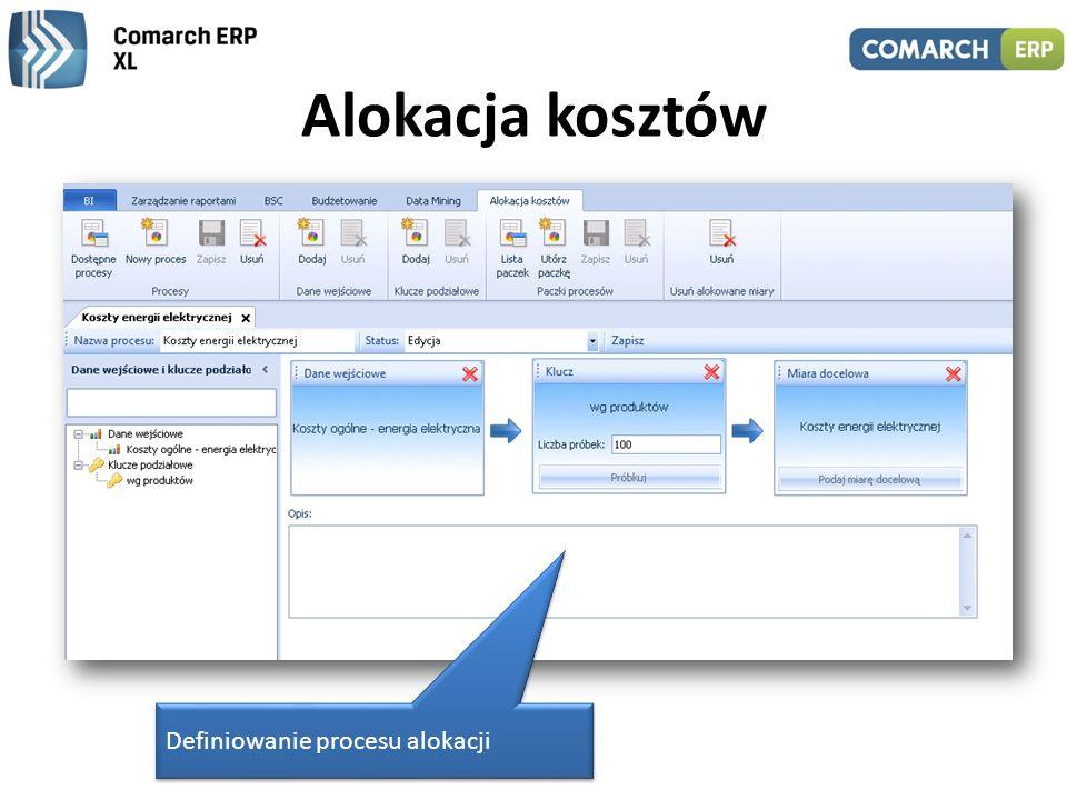 Alokacja kosztów Mechanizm pozwala rozbijać koszty ogólne według kluczy podziałowych i przypisywać je do istniejących w bazie OLAP miar lub prezentowa