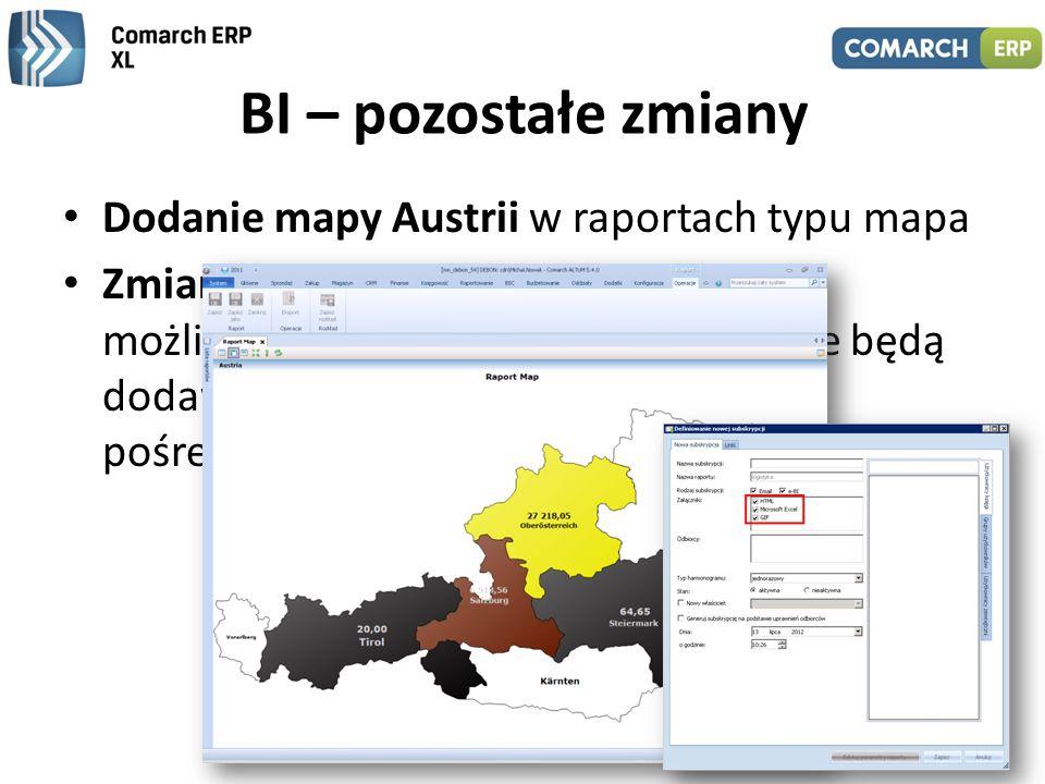 BI – pozostałe zmiany Dodanie mapy Austrii w raportach typu mapa Zmiany w mechanizmie subskrypcji – możliwość wskazania załączników, jakie będą dodawa