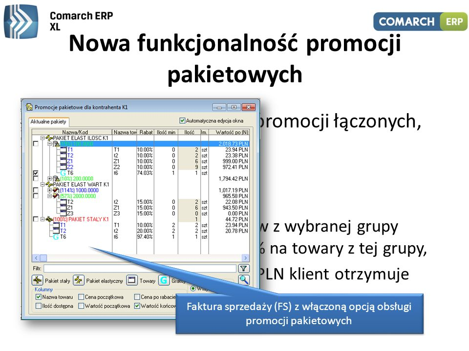 Nowa funkcjonalność promocji pakietowych Możliwość definiowania promocji łączonych, np.: – 2 towary + 1 gratis, – 2 towary + 1 za pół ceny, – przy zak