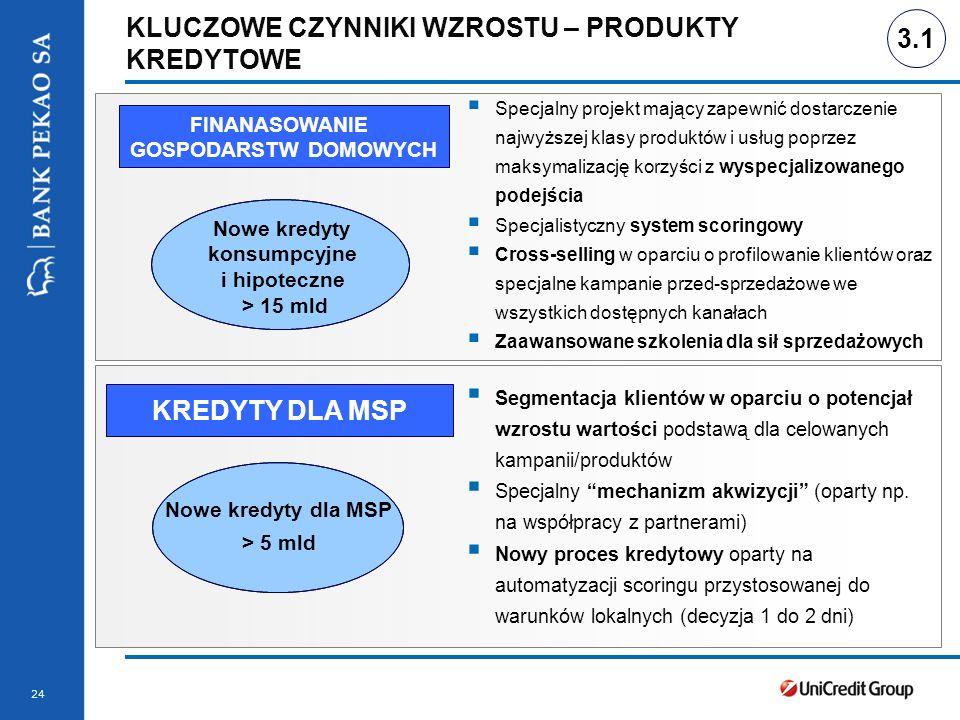 Stopka prezentacji 24 KLUCZOWE CZYNNIKI WZROSTU – PRODUKTY KREDYTOWE 3.1 Specjalny projekt mający zapewnić dostarczenie najwyższej klasy produktów i u