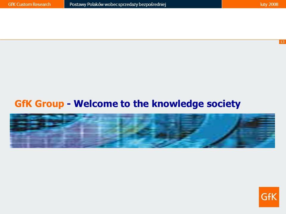 13 GfK Custom ResearchPostawy Polaków wobec sprzedaży bezpośredniejluty 2008 GfK Group - Welcome to the knowledge society