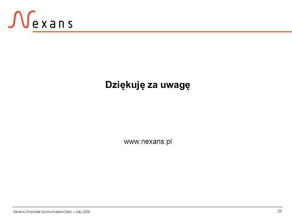 26 Nexans Corporate Communication Dept. – May 2009 Dziękuję za uwagę www.nexans.pl