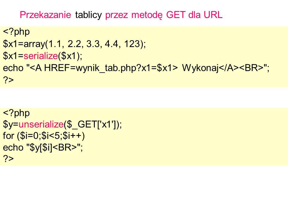 Przekazanie tablicy przez metodę GET dla URL < php $x1=array(1.1, 2.2, 3.3, 4.4, 123); $x1=serialize($x1); echo Wykonaj ; > < php $y=unserialize($_GET[ x1 ]); for ($i=0;$i<5;$i++) echo $y[$i] ; >