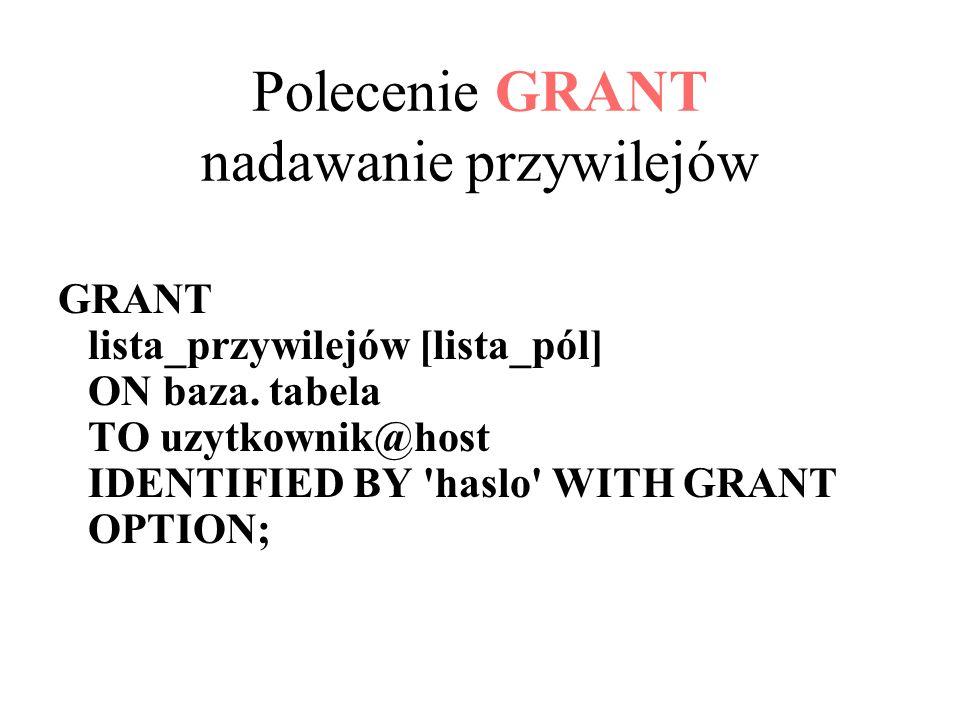 Polecenie GRANT nadawanie przywilejów GRANT lista_przywilejów [lista_pól] ON baza.