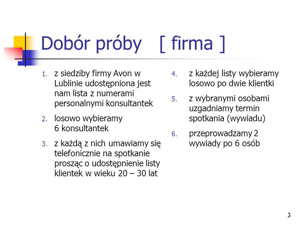 3 Dobór próby [ firma ] 1. z siedziby firmy Avon w Lublinie udostępniona jest nam lista z numerami personalnymi konsultantek 2. losowo wybieramy 6 kon