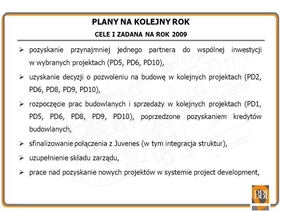 PLANY NA KOLEJNY ROK CELE I ZADANA NA ROK 2009 pozyskanie przynajmniej jednego partnera do wspólnej inwestycji w wybranych projektach (PD5, PD6, PD10)