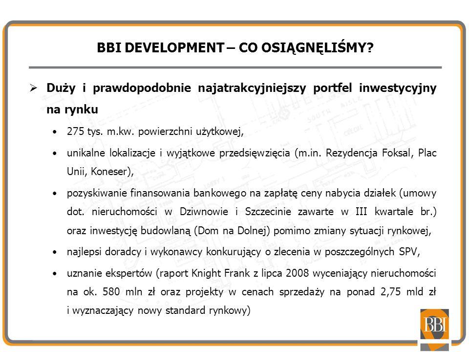BBI DEVELOPMENT – CO OSIĄGNĘLIŚMY? Duży i prawdopodobnie najatrakcyjniejszy portfel inwestycyjny na rynku 275 tys. m.kw. powierzchni użytkowej, unikal
