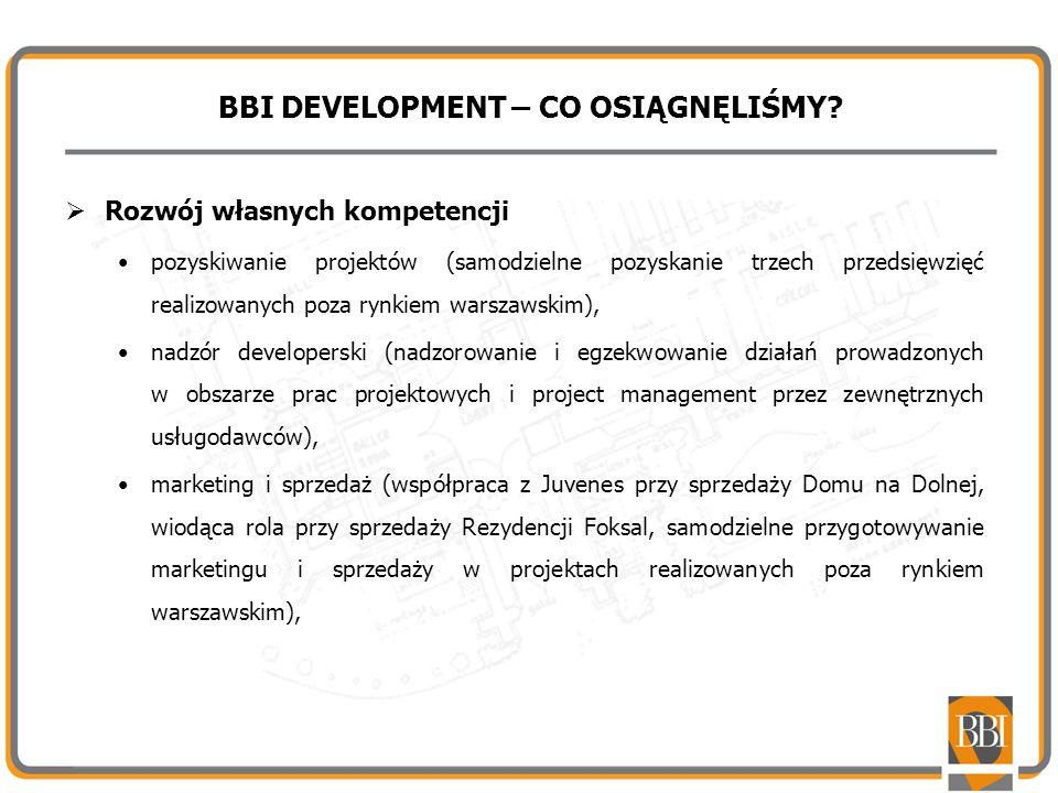 BBI DEVELOPMENT – CO OSIĄGNĘLIŚMY? Rozwój własnych kompetencji pozyskiwanie projektów (samodzielne pozyskanie trzech przedsięwzięć realizowanych poza