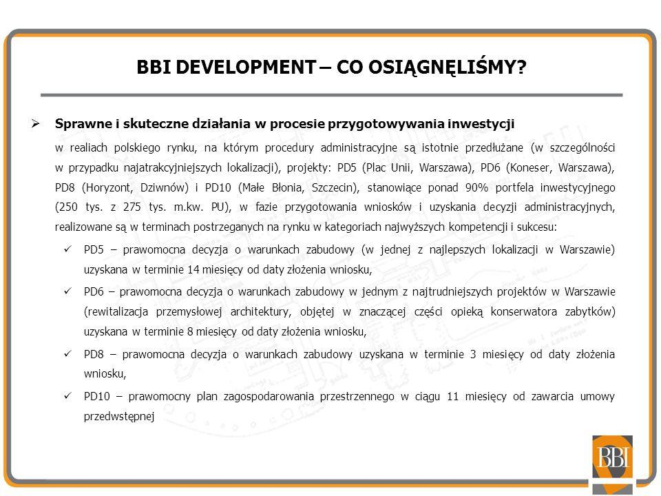 BBI DEVELOPMENT – CO OSIĄGNĘLIŚMY? Sprawne i skuteczne działania w procesie przygotowywania inwestycji w realiach polskiego rynku, na którym procedury