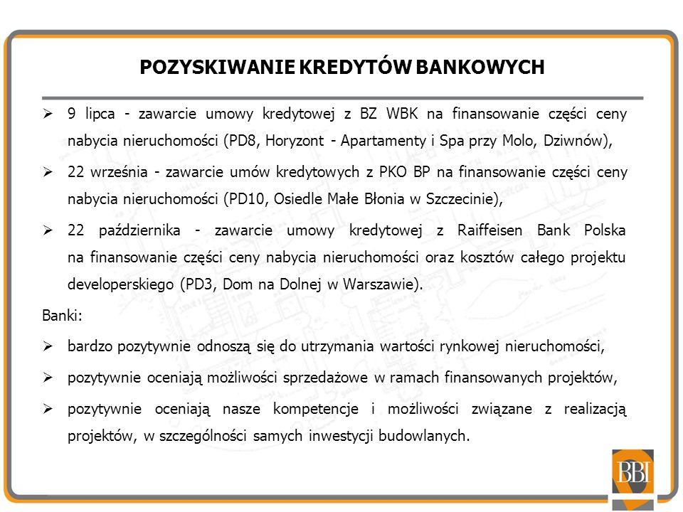 POZYSKIWANIE KREDYTÓW BANKOWYCH 9 lipca - zawarcie umowy kredytowej z BZ WBK na finansowanie części ceny nabycia nieruchomości (PD8, Horyzont - Aparta