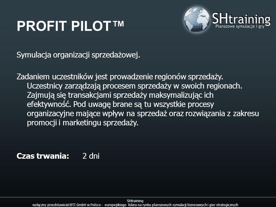 PROFIT PILOT Symulacja organizacji sprzedażowej. Zadaniem uczestników jest prowadzenie regionów sprzedaży. Uczestnicy zarządzają procesem sprzedaży w