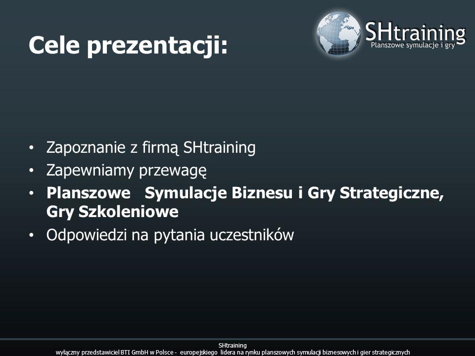 Business Academy SHtraining wyłączny przedstawiciel BTI GmbH w Polsce - europejskiego lidera na rynku planszowych symulacji biznesowych i gier strategicznych Tematyka szkoleń: Finanse dla niefinansistów Zarządzanie przedsiębiorstwem produkcyjnym Zarządzanie przedsiębiorstwem usługowym Zarządzanie przedsiębiorstwem handlowym Zarządzanie przedsiębiorstwem dostarczającym energię elektryczną Zarządzanie i rozwój salonem samochodowym lub całą siecią Zarządzanie projektem Zarządzanie hotelem Zarządzanie firmą dystrybucyjną Jak budować przewagę nad innymi przedsiębiorstwami produkcyjnymi Istota działalności finansowej Co to znaczy być prawdziwym doradcą Co powinieneś wiedzieć o działaniu filii banku