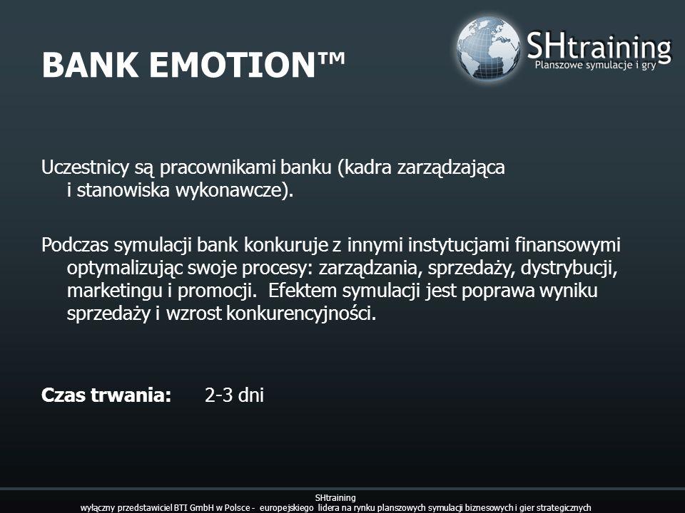 BANK EMOTION Uczestnicy są pracownikami banku (kadra zarządzająca i stanowiska wykonawcze). Podczas symulacji bank konkuruje z innymi instytucjami fin