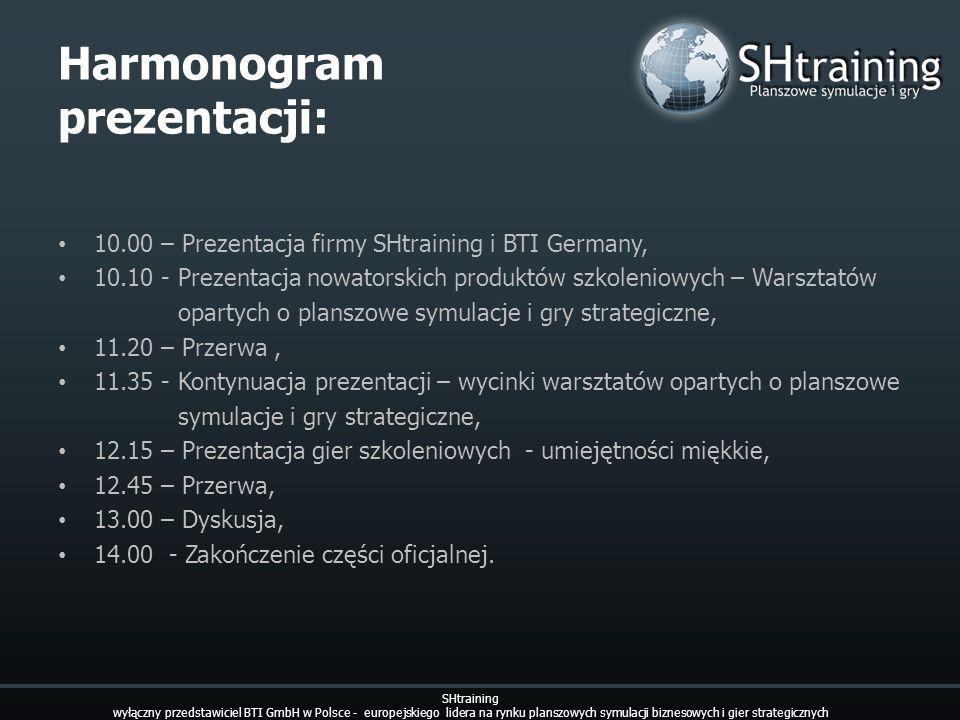 Harmonogram prezentacji: 10.00 – Prezentacja firmy SHtraining i BTI Germany, 10.10 - Prezentacja nowatorskich produktów szkoleniowych – Warsztatów opa
