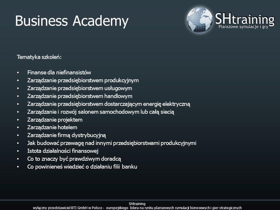 Business Academy SHtraining wyłączny przedstawiciel BTI GmbH w Polsce - europejskiego lidera na rynku planszowych symulacji biznesowych i gier strateg